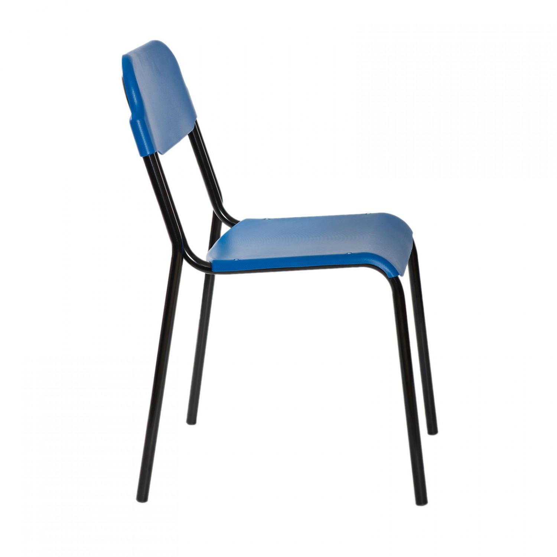 Scaun bucatarie / living fix Lucky, tapitat, otel negru + PVC albastru