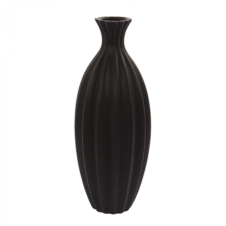 Vaza decorativa 0122, negru mat, H 39 cm