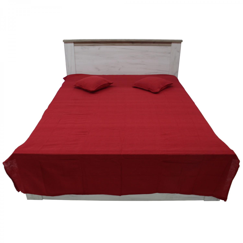 Cuvertura de pat + fete de perna, Caressa, bumbac, rosu, 180 x 240 cm