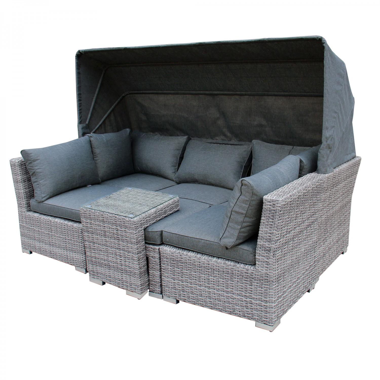 Canapea pentru gradina, metal + ratan sintetic, gri, 225 x 80 x 75 cm, Creta BCS-0164