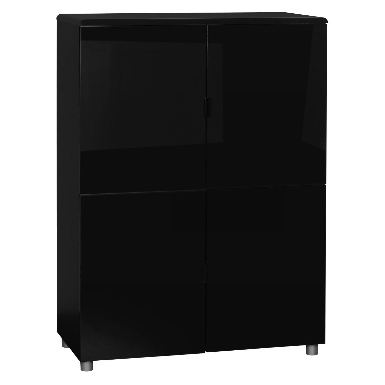 Bufet living cu 4 usi Easy 3463BAHU, negru, 92 x 39 x 128 cm, 2C