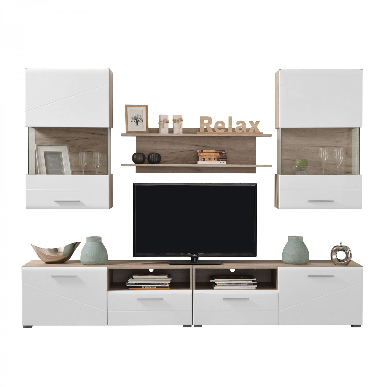 Biblioteca living Campus, stejar gri + alb, 240.5 cm, 4C