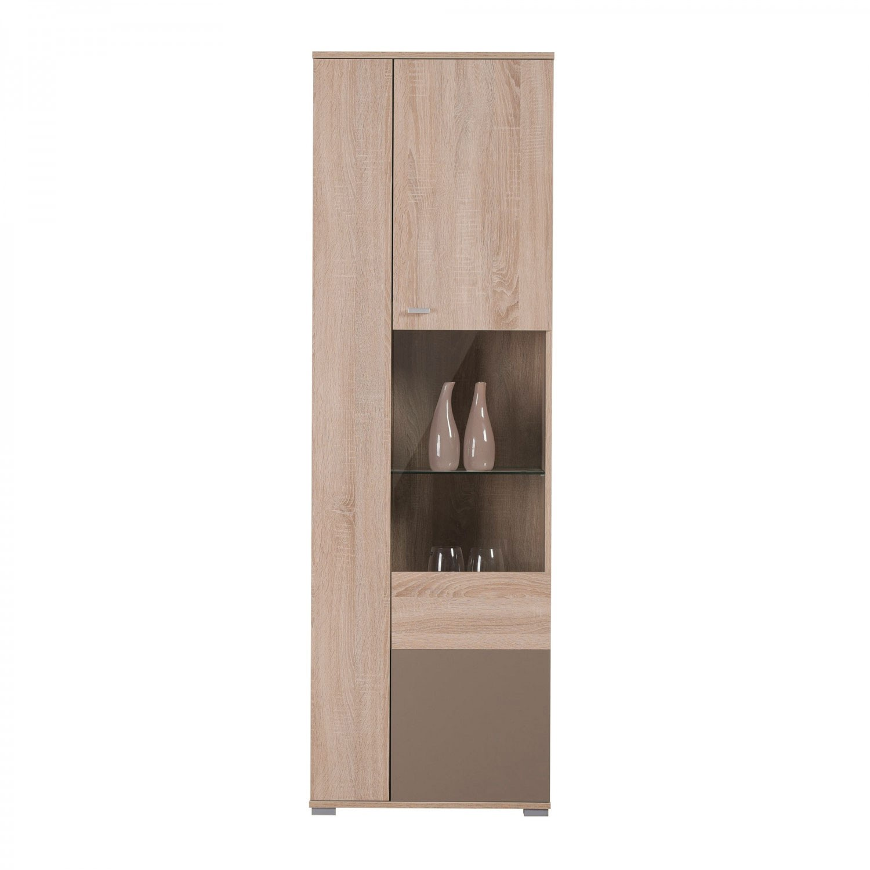 Vitrina living cu usa sticla Amos VV, stejar sonoma + latte, 60 x 35 x 190 cm, 2C
