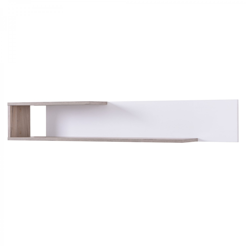 Polita PAL, perete, Amos ZP, stejar gri + alb lucios, 120 x 19.5 x 20 cm, 1C