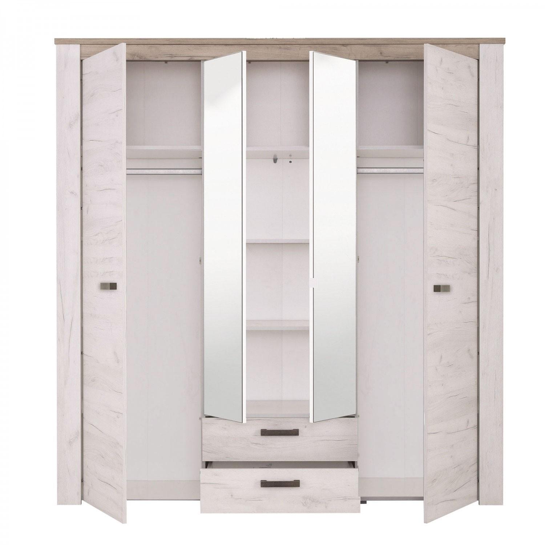 Dormitor complet Kent, stejar alb + stejar gri, 5 piese, 12C