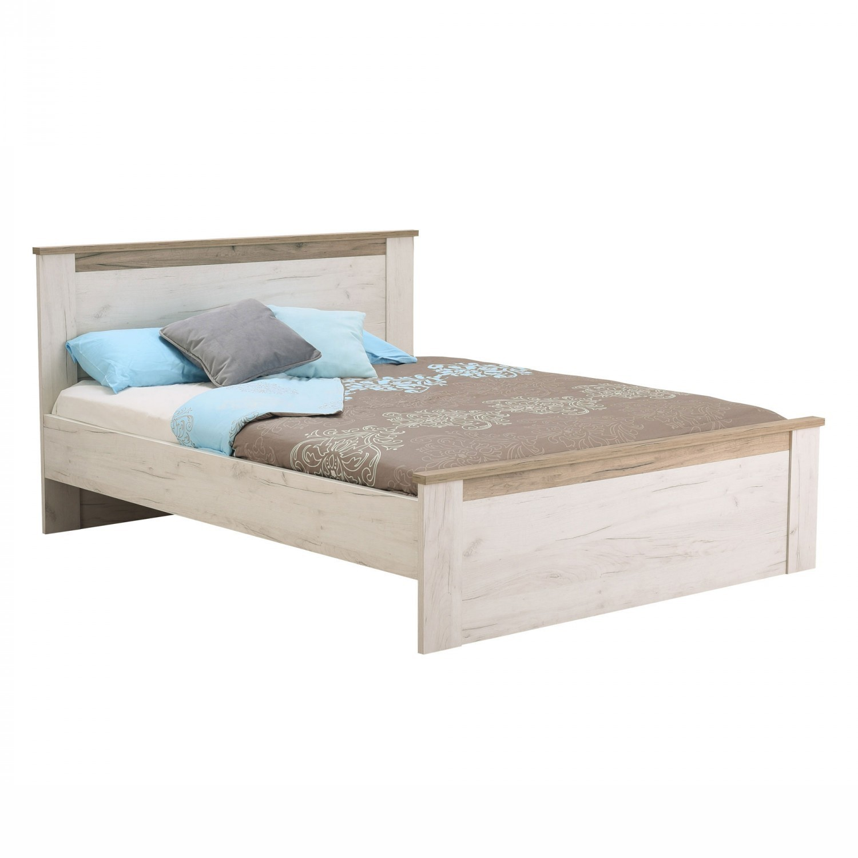 Dormitor Kent, pat + dulap 4K2F2O, stejar alb + stejar gri, 8C