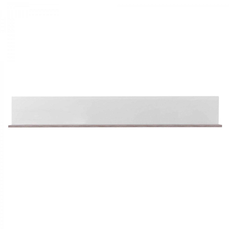 Etajera PAL, perete, Bert ZP 120, stejar gri + alb lucios, 120 x 19.5 x 22 cm, 1C