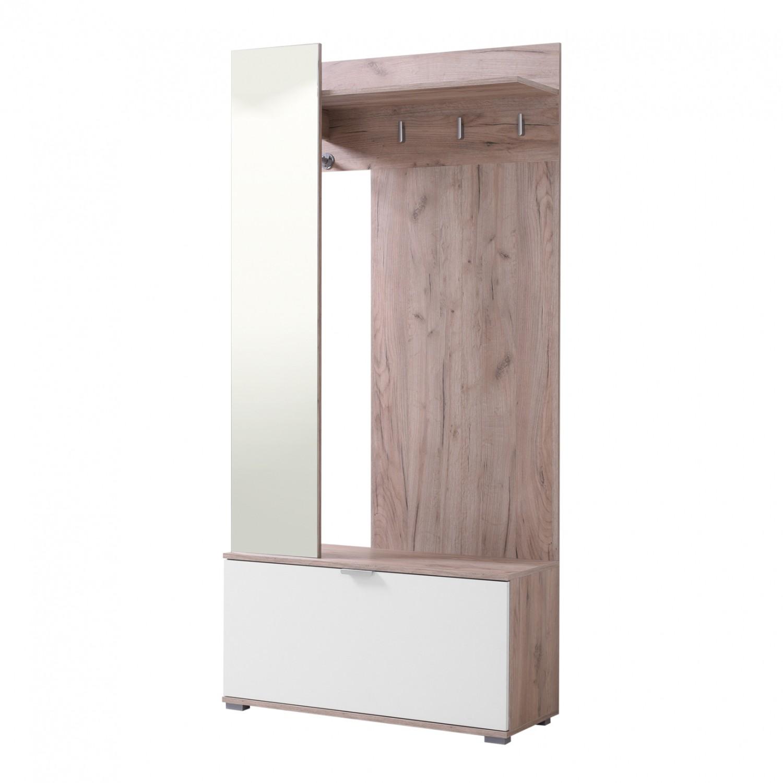 Cuier hol Klio cu 6 agatatori, oglinda si pantofar, stejar gri + alb, 910 x 350 x 1915 mm, 2C