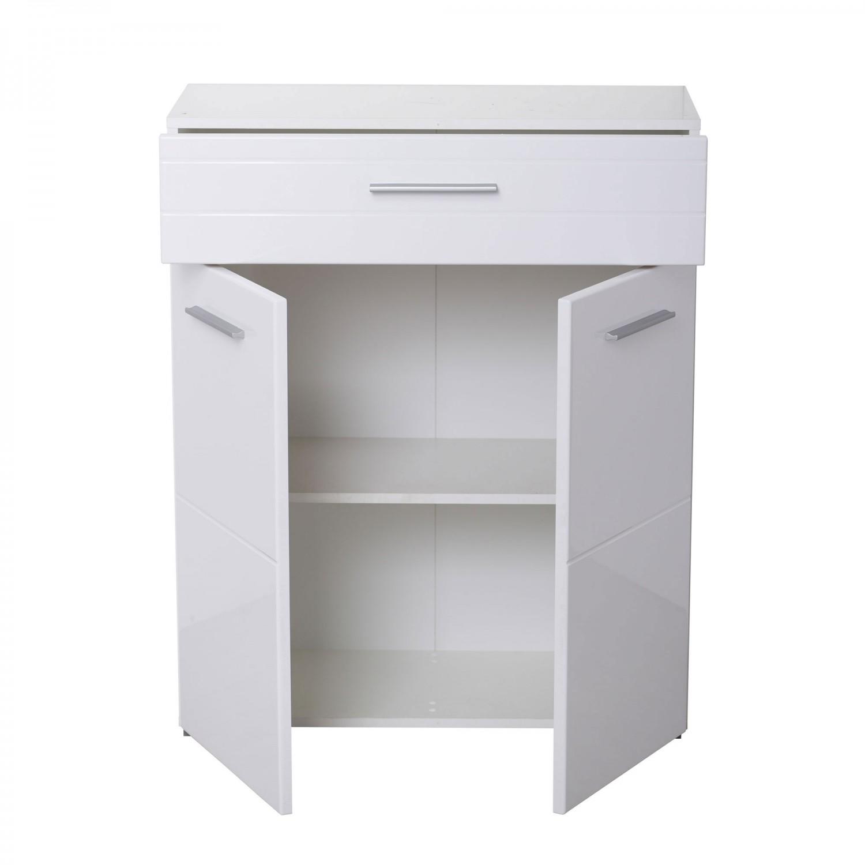 Comoda hol pentru cuier Beny 2K1F, cu 2 usi + sertar, stejar gri + alb lucios, 79 x 35 x 97.5 cm, 2C
