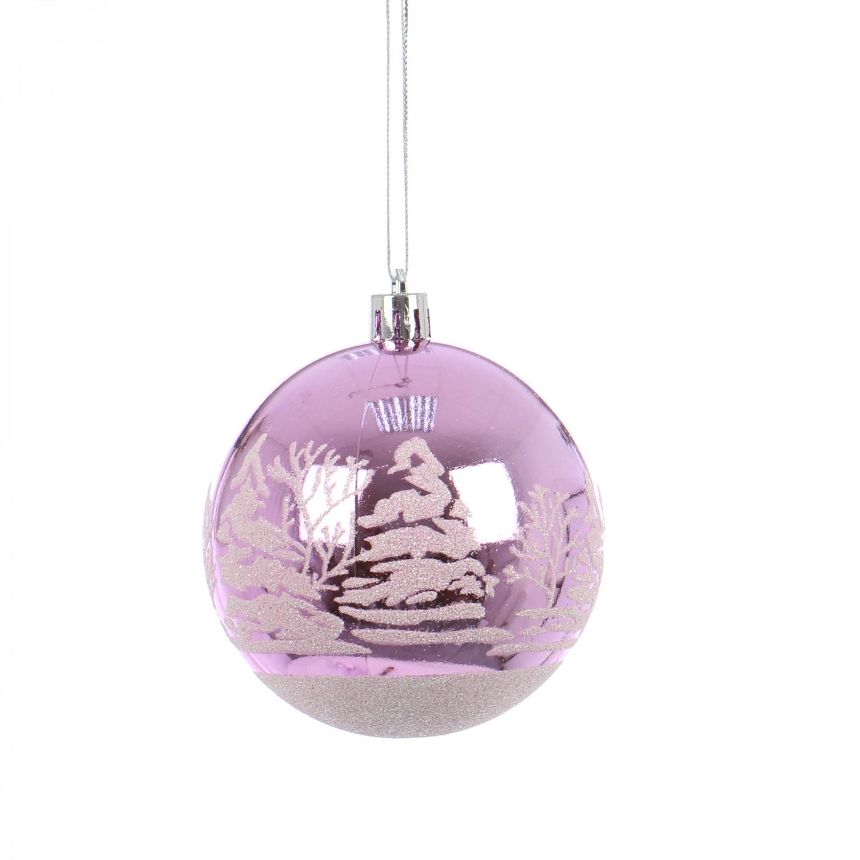 Globuri Craciun, violet deschis, D 8 cm, set 6 bucati, SY17DGZ-372