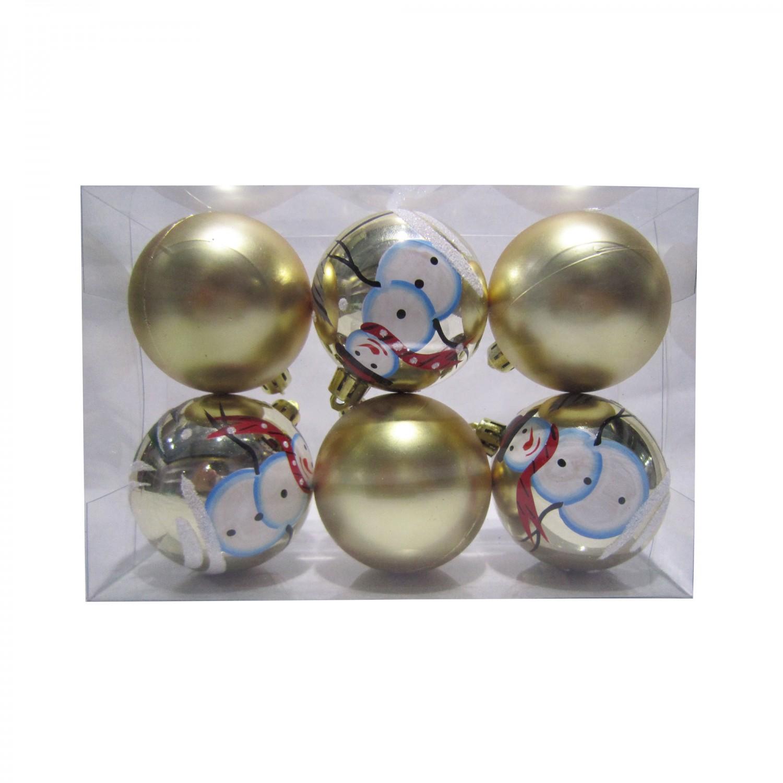 Globuri Craciun, aurii, D 6 cm, set 6 bucati, SY17D-012