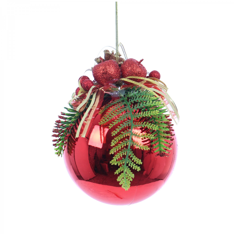 Glob Craciun, decorativ, rosu, 15 cm SYCB17-155