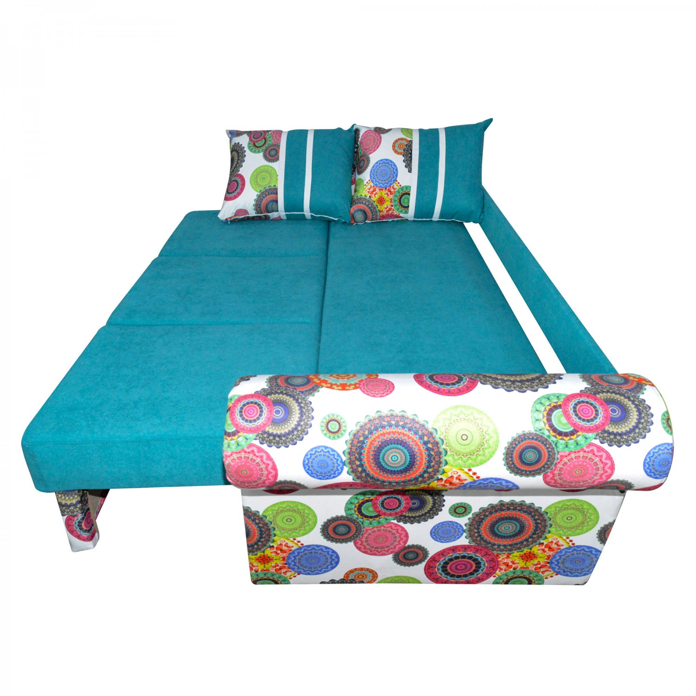 Canapea extensibila 3 locuri Soleto, cu lada, albastru + multicolor, 249 x 100 x 77 cm, 4C
