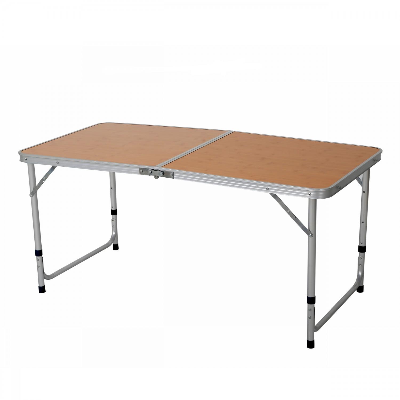 Masa plianta pentru gradina 40305, metal + MDF, dreptunghiulara, 6 persoane, 120 x 60 x 50 / 70 cm