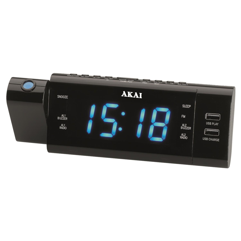 Radio AM / FM / PLL Akai ACR-3888, cu ceas cu proiector, functie alarma, USB, incarcare prin USB