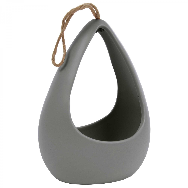 Vaza ceramica decorativa, 375C/1, gri, 12 x 9 x 16.5 cm