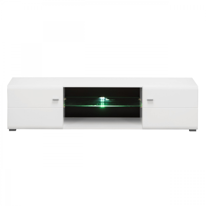 Comoda TV Rex, cu lumini, alb + negru + alb lucios, 170 x 41.5 x 41.5 cm, 2C