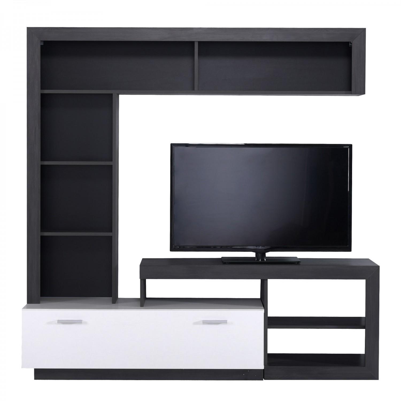Biblioteca living Glen, lemn negru + alb, 170.5 cm, 2C