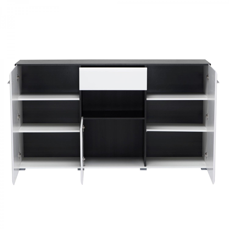 Comoda cu sertar Enzo 3K1F, alb lucios + lemn negru, 173 x 41.5 x 96.5 cm, 2C