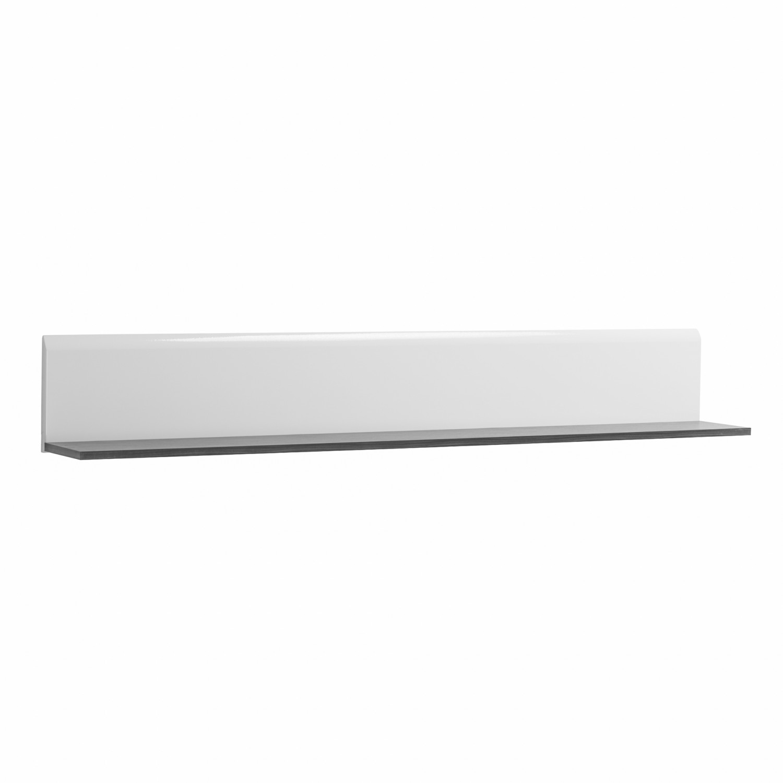 Etajera PAL, perete, Enzo ZP, alb lucios + lemn negru, 153 x 19.5 x 19 cm, 1C