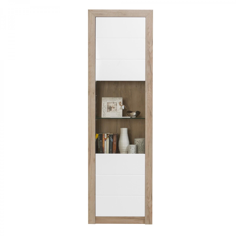 Vitrina living Astor 1K VS, stejar gri + alb lucios, 58.5 x 35 x 194.5 cm, 3C
