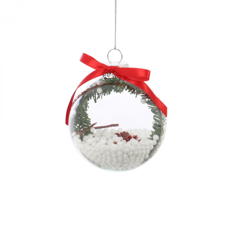 Glob decorativ de Craciun AK018116, sticla + plastic + metal + poliester, 8 cm
