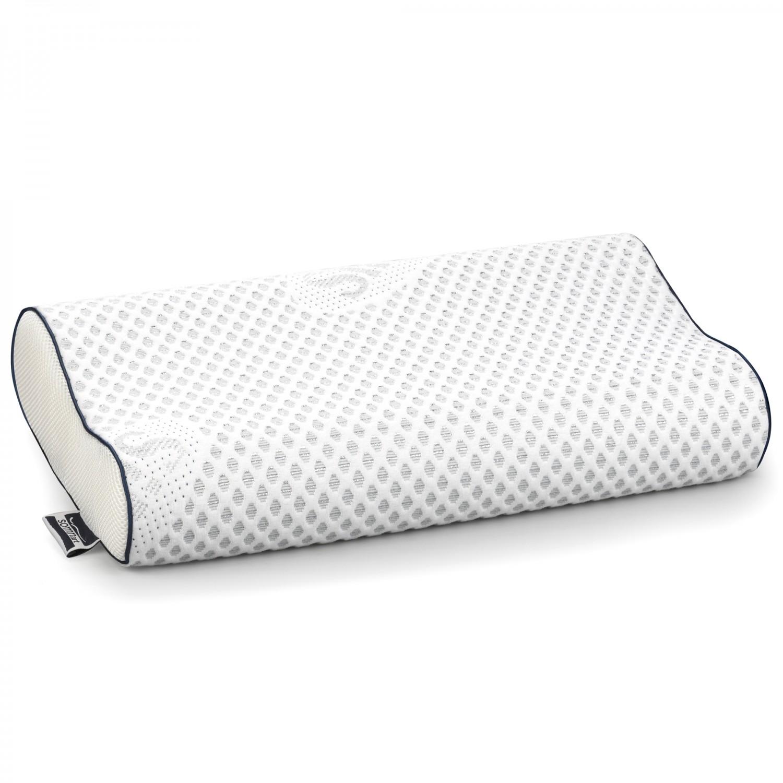 Perna pentru dormit Minet Somnart Memory Silver, poliester si poliamida + spuma cu memorie, gri, 30 x 50 cm