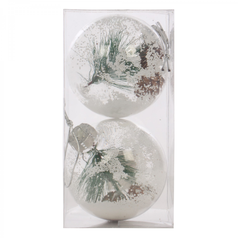 Globuri Craciun, transparent, D 10 cm, set 2 bucati, SY18CD-002
