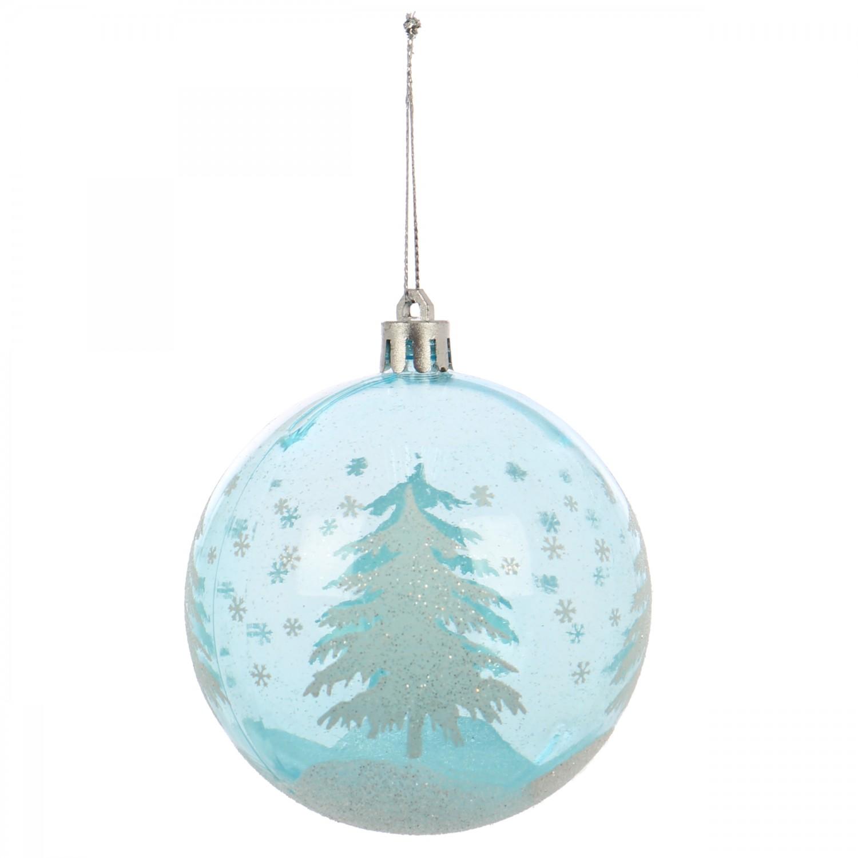 Globuri Craciun, albastru deschis + transparent, D 8 cm, set 6 bucati, SY18CD-018