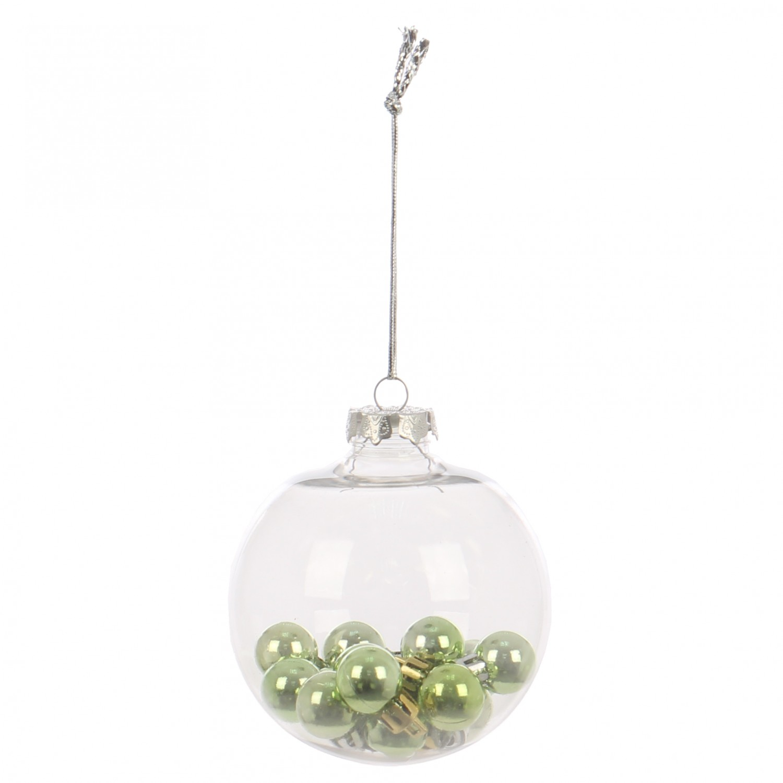 Globuri Craciun, transparent + verde, D 10 cm, set 2 bucati, SY18CD-039