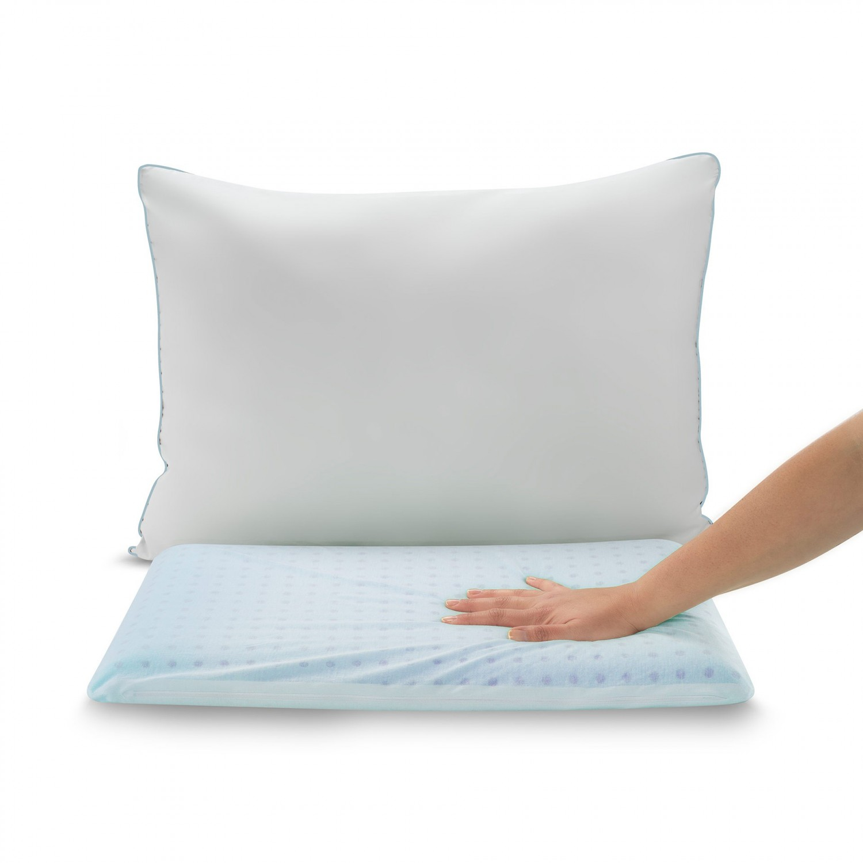 Perna pentru dormit Dormeo 2 in 1 Cooling, clasica, spuma cu memorie si gel racoritor + microfibre speciale, 45 x 65 cm