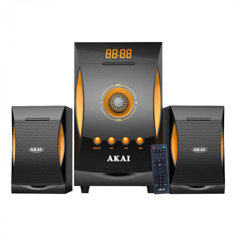 Sistem audio Akai SS032A-3515, configuratie 2.1, 38 W, Bluetooth, USB, SD card, radio FM, gri + portocaliu, telecomanda