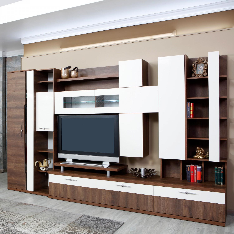 Biblioteca living Pallas Domino, nuc + crem lucios, 340 cm, 13C