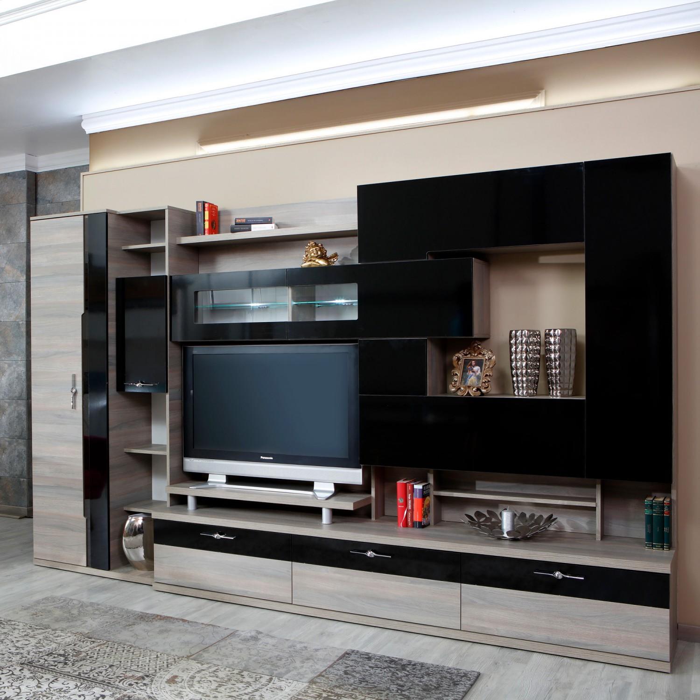 Biblioteca living Pallas Kubi, ulm inchis + negru lucios, 340 cm, 13C
