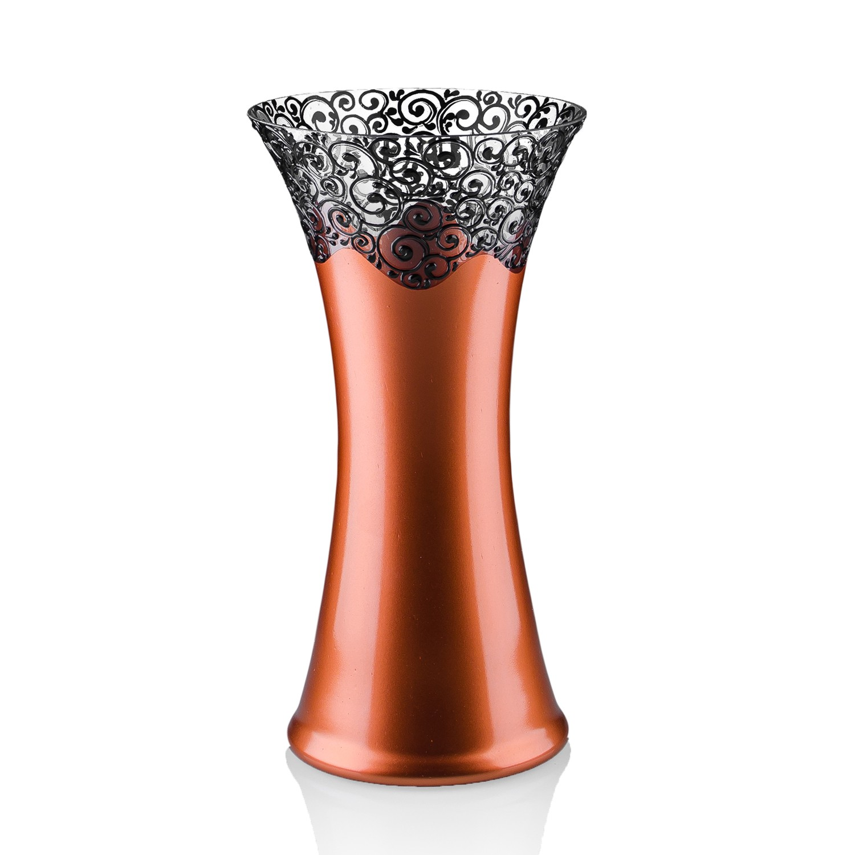 Vaza sticla decorativa, Elise VR30/15, cupru + bronz, 30 x 16 cm