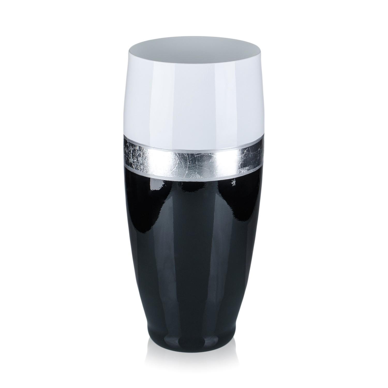 Vaza sticla decorativa, Royal J/ROY, negru + alb + argintiu, 30 x 13 cm