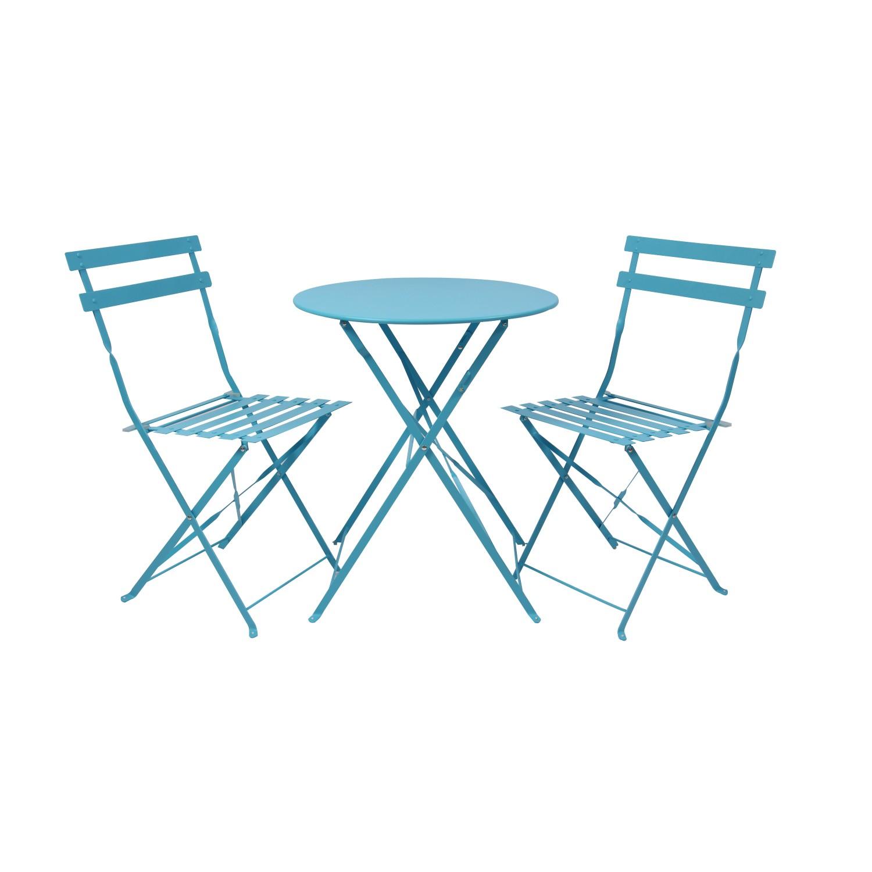 Set masa cu 2 scaune, pentru gradina, Bistro Roma, pliant, din metal, albastru