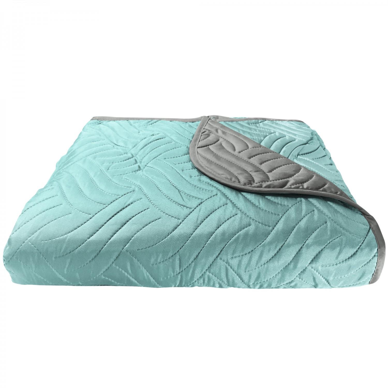 Cuvertura de pat + fete de perna, poliester, 210 x 250 cm, gri / bleu