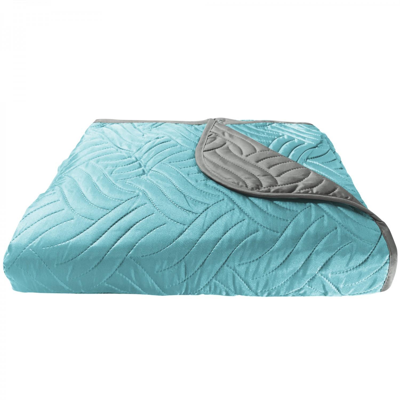 Cuvertura de pat + fete de perna, poliester, 210 x 250 cm, gri / albastru