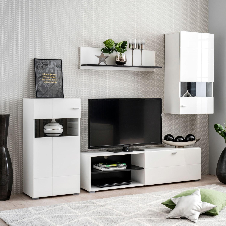 Biblioteca living Portofino, alb + negru + alb lucios, 225 cm, 2C