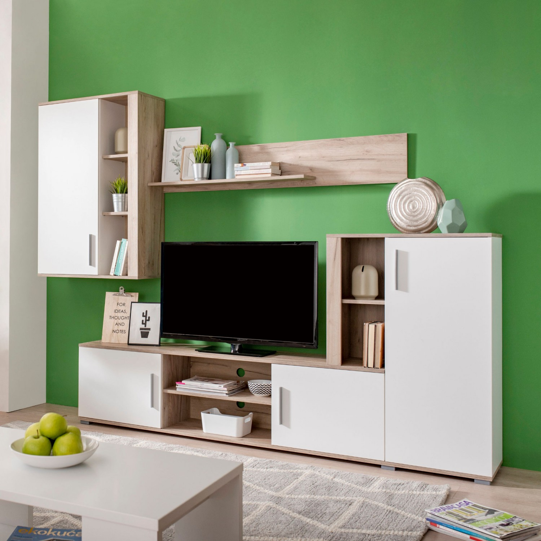 Biblioteca living Parma, stejar gri + alb, 263 cm, 3C