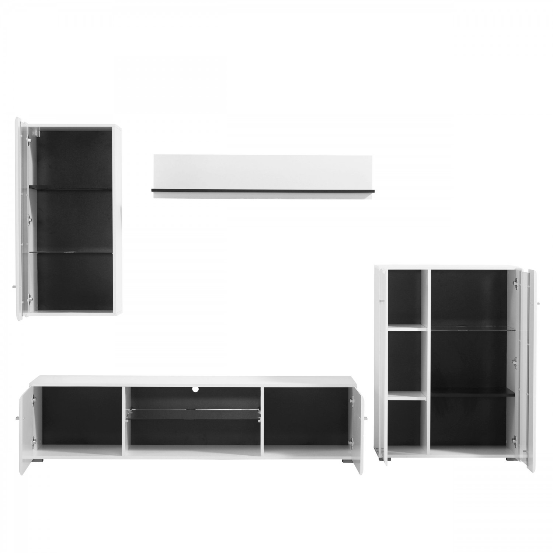 Biblioteca living Prato, alb + negru + alb lucios, 264 cm, 3C