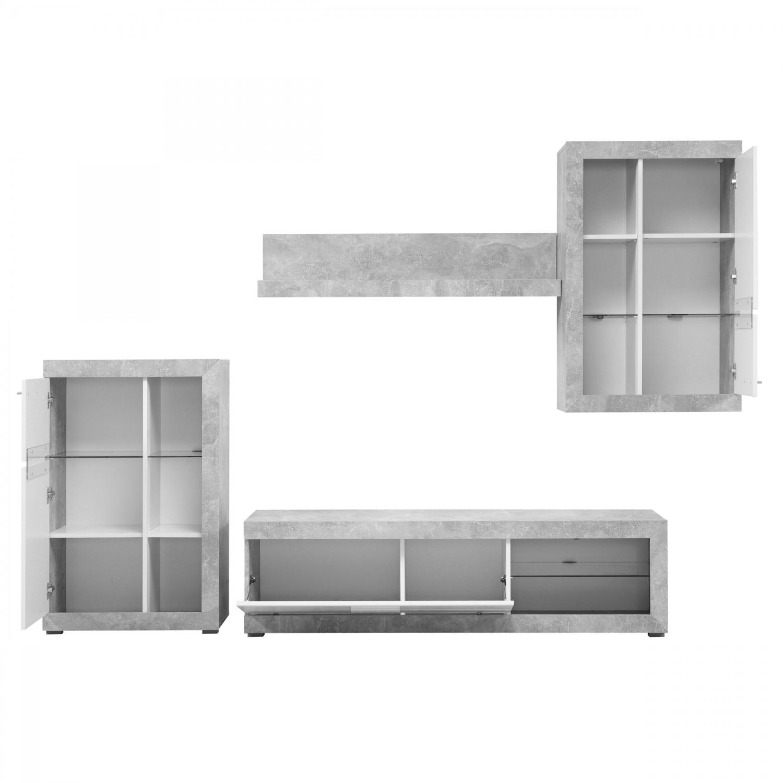 Biblioteca living Rosso, alb + beton + alb lucios, 266 cm, 3C