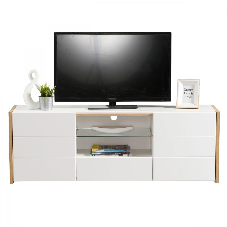Comoda TV cu sertar Alicia, stejar auriu + alb + alb lucios, 158 x 40 x 55 cm, 2C