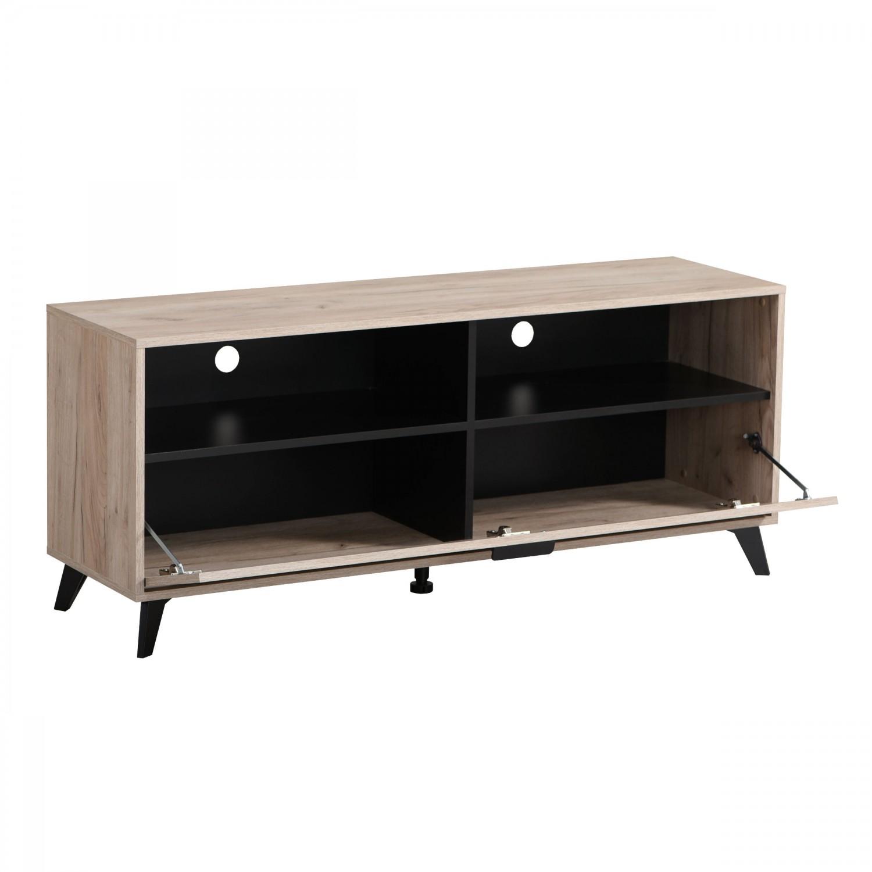 Comoda TV Umbria 140, stejar gri + negru, 137.5 x 40 x 57.5 cm, 1C