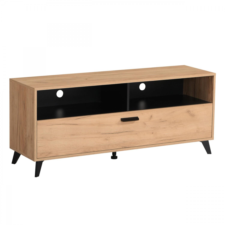 Comoda TV Umbria 140, stejar auriu + negru, 137.5 x 40 x 57.5 cm, 1C