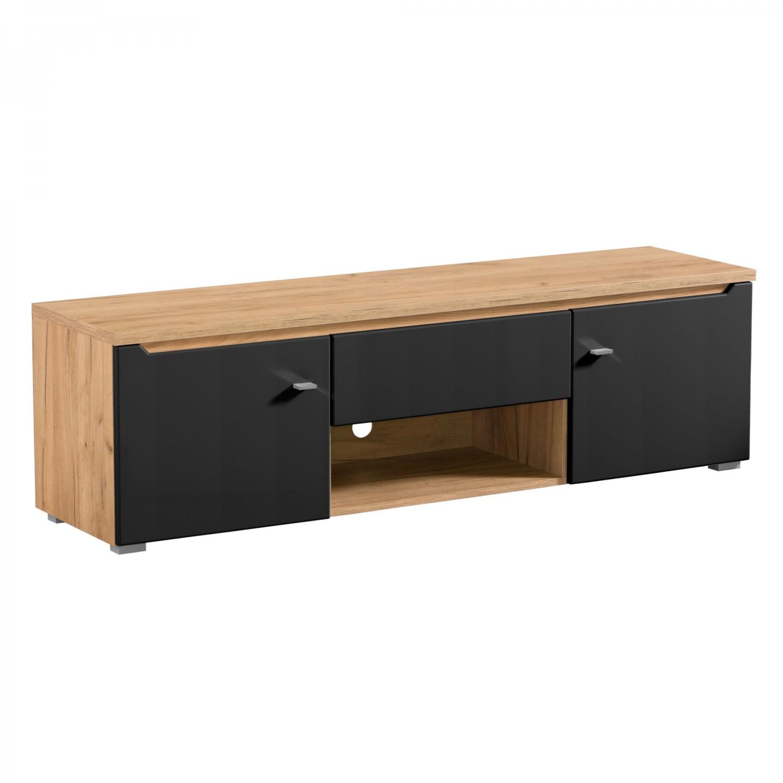 Comoda TV cu sertar Toscana 155, stejar auriu + folie mata neagra, 153 x 40 x 44.5 cm, 1C