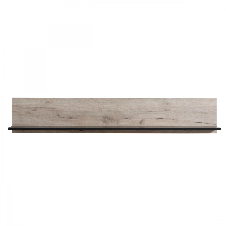 Etajera PAL, perete, Umbria ZP, stejar gri + negru, 137.5 x 19.5 x 24 cm, 1C