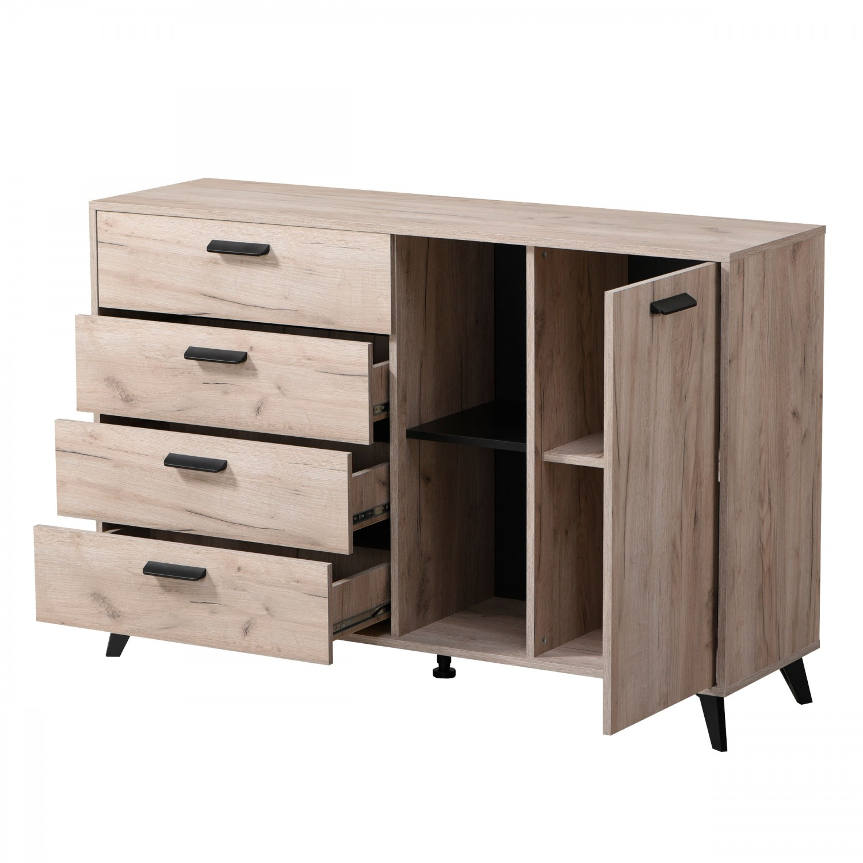 Comoda cu 4 sertare Umbria 3K4F, stejar gri + negru, 137.5 x 40 x 90.5 cm, 2C