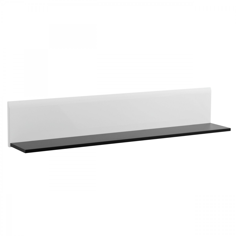 Etajera PAL, perete, Trentino ZP, negru + alb lucios, 120 x 19.5 x 22 cm, 1C